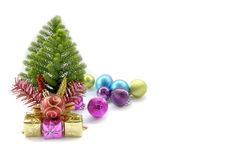 Stock Photo:Christmas card with fir and decor on glitter Royalty Free Stock Images