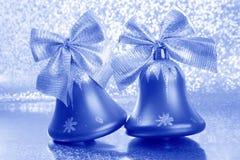Stock Photo : Christmas Tree Jingle Bells. Christmas Tree Jingle Bells : Blue Ornaments on Blurred Background Stock Photos