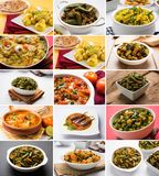Stock photo of collage of indian popular main course vegetable recipe best suitable for restaurant menu card design Royalty Free Stock Photos
