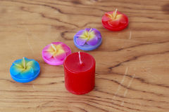 Stock Photo:collection of decorative candles on wooden backgrou Royalty Free Stock Photography