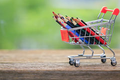 Stock Photo - color pencils in shopping cart. Stock Photography