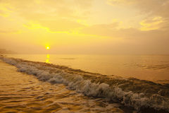 Stock Photo:Colorful sunset at the sand tropical beach Stock Photo