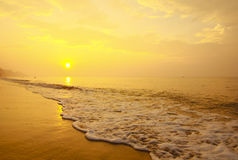 Stock Photo:Colorful sunset at the sand tropical beach Royalty Free Stock Image