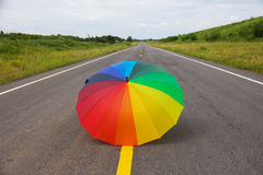 Stock Photo - Colorful umbrella on the road Stock Images