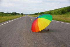 Stock Photo - Colorful umbrella on the road Royalty Free Stock Photography
