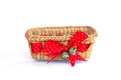 Stock Photo - Composition of  brown wicker baskets, box shaped, Royalty Free Stock Photos