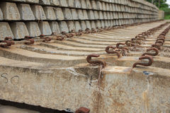 Stock Photo - Concrete railway sleepers piled. Royalty Free Stock Images
