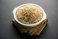 Cooked or steamed Brown basmati rice served in bowl royalty free stock photos
