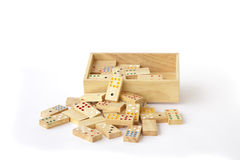 Stock Photo:Domino in wooden box  on white Stock Photography