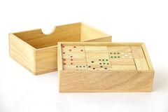 Stock Photo:Domino in wooden box  on white Stock Images