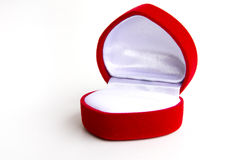 Stock Photo - empty red diamond ring box isolated on white backg Royalty Free Stock Images
