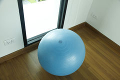 Stock Photo:exercise ball for fitness on wooden floor Stock Photos
