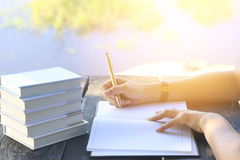 Stock Photo:female hands with pen writing on notebook on wooden Royalty Free Stock Images