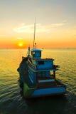 Stock Photo:Fishing boat sunrise Royalty Free Stock Photography