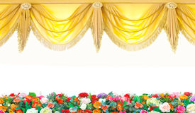 Stock Photo:  Gold curtains on  beautiful flowers background Stock Photos