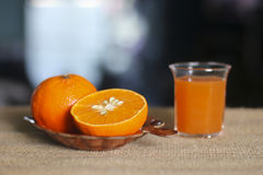 Stock Photo:Healthy mandarin juice on wooden table Royalty Free Stock Photos