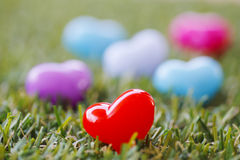 Stock Photo:Heart shaped plastic beads arranged in concept Stock Photos