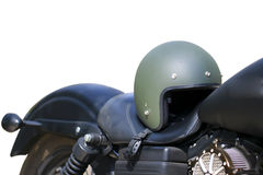 Stock Photo - helmet and glasses on the seat of a motorcycle Royalty Free Stock Photos