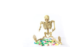 Stock Photo: Human skeleton and Overdosing Stock Image