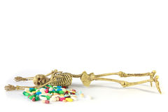 Stock Photo: Human skeleton and Overdosing Stock Images