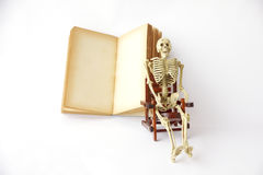 Stock Photo: Human skeleton Sit on a chair With old books Stock Photo