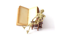 Stock Photo: Human skeleton Sit on a chair With old books Royalty Free Stock Photo
