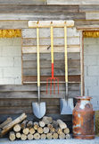 Stock Photo: image of garden tools hanging on side walls wooden. Royalty Free Stock Photography
