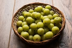 Indian gooseberry or Amla or avla fruit, selective focus Royalty Free Stock Photos