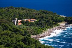 Stock Photo of the Island of Lokrum. Benedictine Monastery on the Croatian island of Lokrum royalty free stock photo