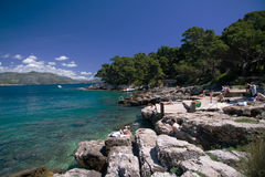Stock Photo of the Island of Lokrum. A ricky beach on the Croatian island of Lokrum royalty free stock image