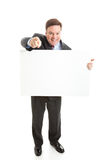 Stock Photo of Isolated Businessman with Sign Stock Photos