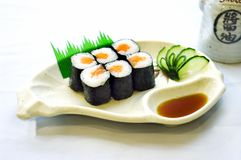 Stock Photo Japanese Food, Mak. Japanese Food, Plate of Maki, Sliced Raw Fish, Salmon, with Soja Sauce Royalty Free Stock Photos