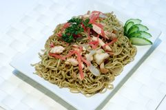 Stock Photo of Japanese Food, Noodles, PS-43043. Japanese Food, Plate of Japanese Noodles with Cooked Salmon Royalty Free Stock Images
