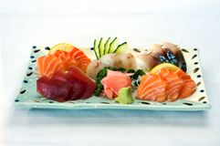 Stock Photo Japanese Food, Sas. Japanese Food, Plate of Sashimi, Sliced Raw Fish, Tuna, Salmon, Mackeral Royalty Free Stock Images