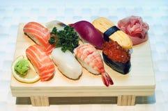 Stock Photo of Japanese Sushi. Japanese Food, Detail Six Various Sushi-maki, Raw Fish Delicacy Stock Photography