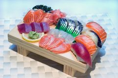 Stock Photo of Japanese Sushi. Japanese Food, Detail Sushi on a Wooden Serving Plate Royalty Free Stock Image