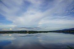 Stock Photo - landscape reservoir could sky resort Stock Photos
