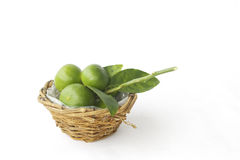Stock Photo:Lemons in basket isolated on white Royalty Free Stock Photography