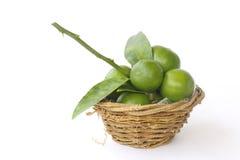 Stock Photo:Lemons in basket isolated on white Royalty Free Stock Photo