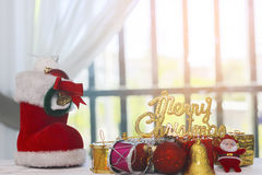 Stock Photo:Merry Christmas and happy new year event on wood Royalty Free Stock Photos