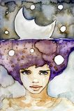 Stock Photo: Miss Moonlight. Watercolor illustration of a beautiful, delicate girl royalty free illustration