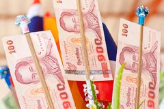 Stock Photo: Money tree at a traditional Buddhist ceremony, Kathin, Thailand Stock Photos