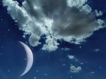 Stock photo of mystical night sky and moon. Spiritual image of dramatic night sky with moon and stars vector illustration