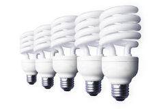 Stock Photo of5 light bulbs Royalty Free Stock Image
