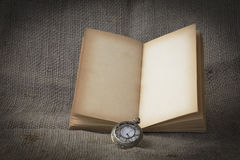 Stock Photo:old book open blank pages, empty yellow paper on da Stock Photos