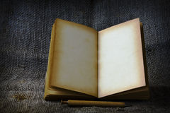 Stock Photo:old book open blank pages, empty yellow paper Stock Image
