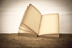 Stock Photo:old book open blank pages, empty yellow paper Royalty Free Stock Photography