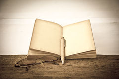 Stock Photo:old book open blank pages, empty yellow paper Royalty Free Stock Photo