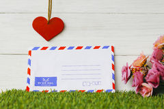 Stock Photo:Old envelope on wooden background Royalty Free Stock Photography
