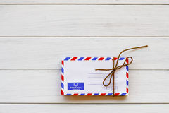 Stock Photo:Old envelope on wooden background Royalty Free Stock Image